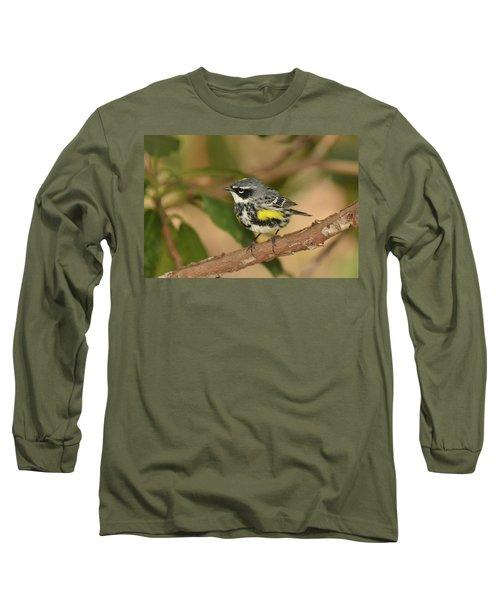 Yellow-rumped Warbler Long Sleeve T-Shirt by Alan Lenk