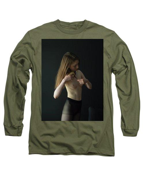 Young Woman In Pantyhose  Long Sleeve T-Shirt