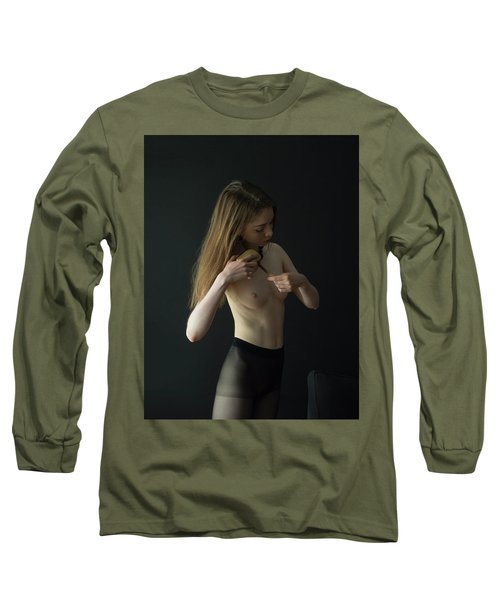Young Woman In Pantyhose  Long Sleeve T-Shirt