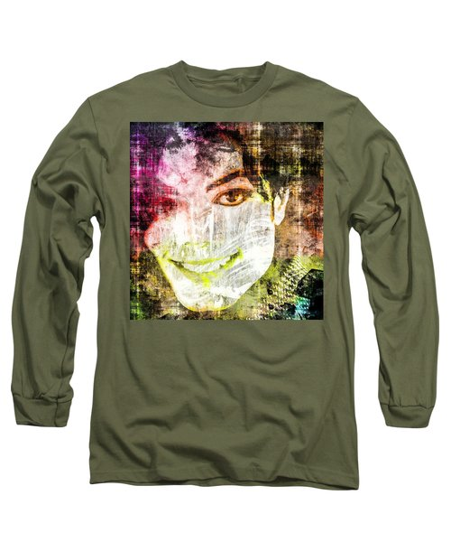 Long Sleeve T-Shirt featuring the mixed media Michael Jackson by Svelby Art