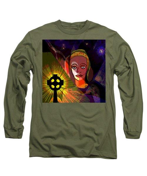 Long Sleeve T-Shirt featuring the digital art 863 - A Celtic Cross by Irmgard Schoendorf Welch