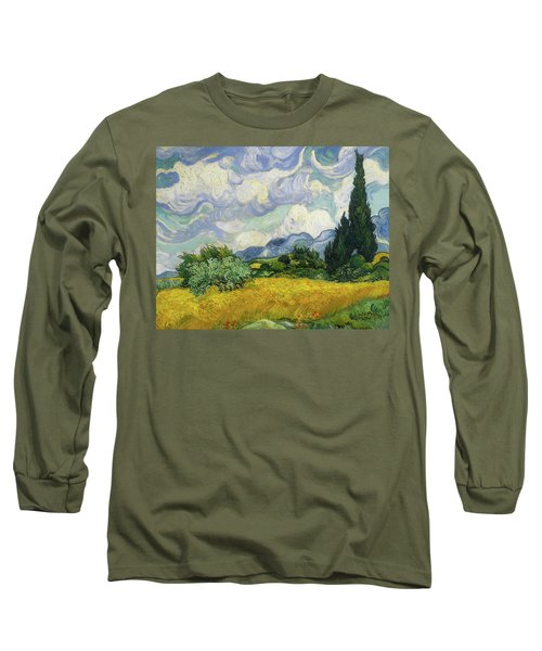 Long Sleeve T-Shirt featuring the painting Wheat Field With Cypresses by Vincent van Gogh