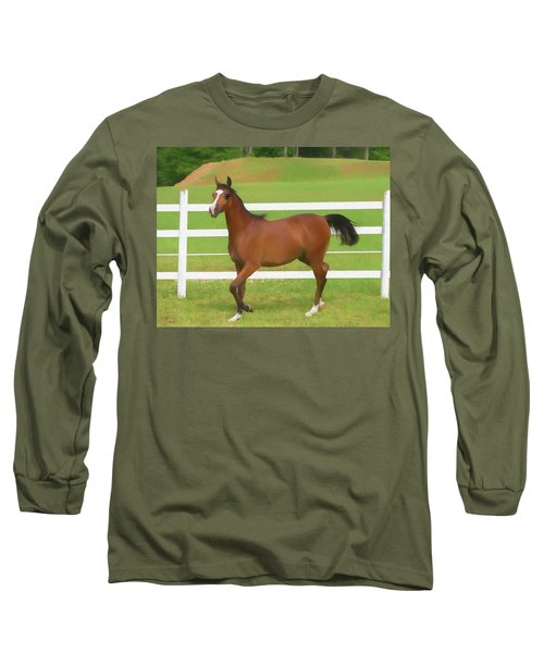A Beautiful Arabian Filly In The Pasture. Long Sleeve T-Shirt