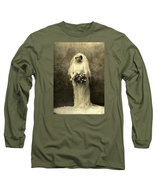 A Beautiful Vintage Photo Of Coloured Colored Lady In Her Wedding Dress Long Sleeve T-Shirt by R Muirhead Art