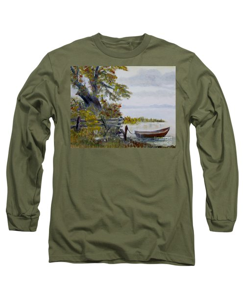 Long Sleeve T-Shirt featuring the painting A Boat Waiting by Marilyn  McNish