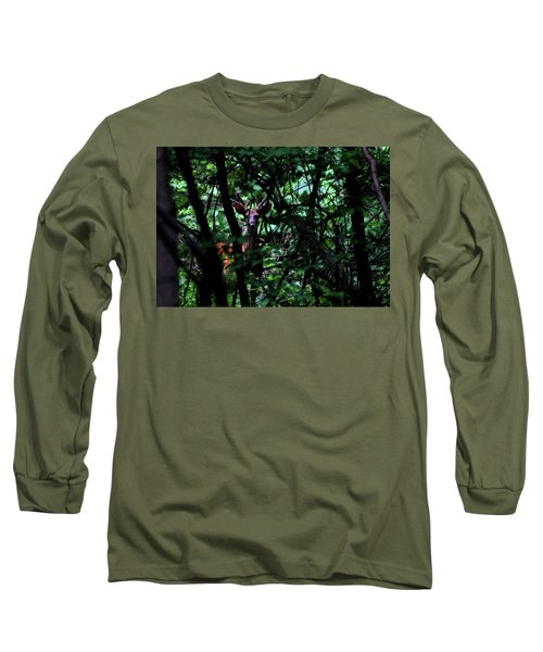A Buck Peers From The Woods Long Sleeve T-Shirt by Bruce Patrick Smith