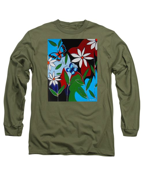 Long Sleeve T-Shirt featuring the painting A Butterflies Paradise by Kathleen Sartoris