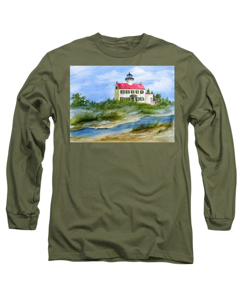 Long Sleeve T-Shirt featuring the painting A Clear Day At East Point Lighthouse by Nancy Patterson