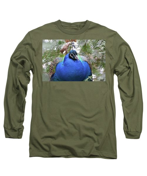 A Close Up Look At A Blue Peafowl Long Sleeve T-Shirt by DejaVu Designs