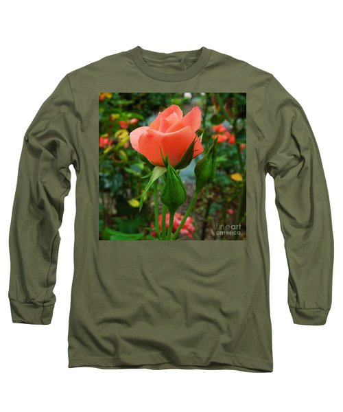 A Delicate Pink Rose Long Sleeve T-Shirt by Chad and Stacey Hall