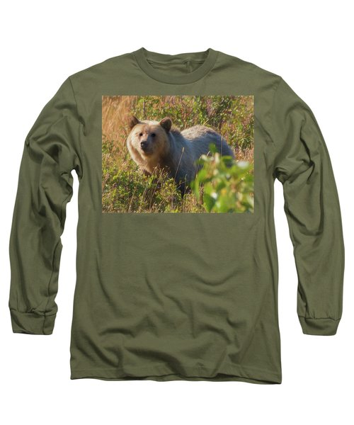 A  Female Grizzly Bear Looking Alertly At The Camera. Long Sleeve T-Shirt