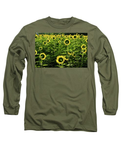 A Flock Of Blooming Sunflowers Long Sleeve T-Shirt
