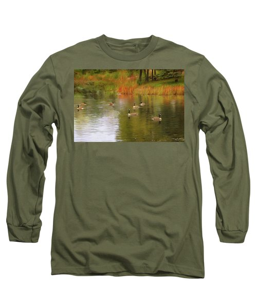 A Gaggle Of Geese Long Sleeve T-Shirt by Cedric Hampton