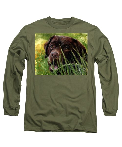 Long Sleeve T-Shirt featuring the painting A Gardener's Friend by Molly Poole