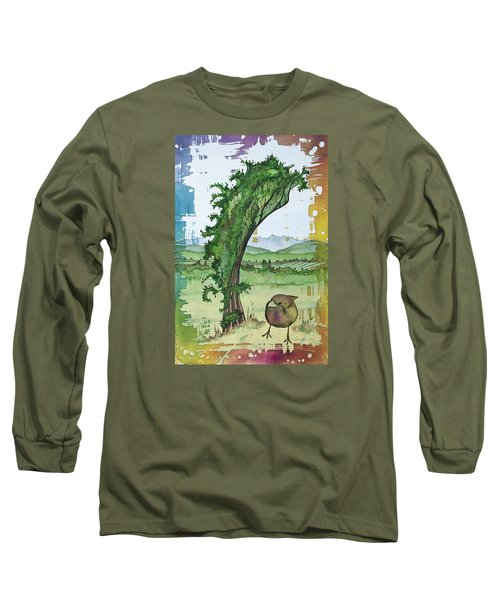 A Kale Leaf And A Little Bird Long Sleeve T-Shirt by Carolyn Doe