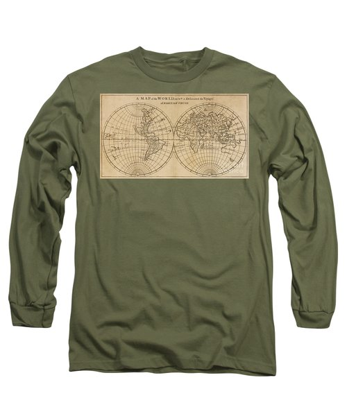 A Map Of The World On Which Is Delineated The Voyage Of Robinson Crusoe Long Sleeve T-Shirt