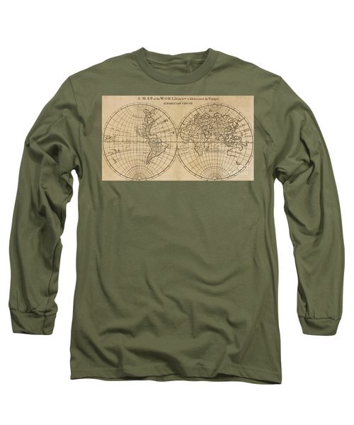 A Map Of The World With The Voyage Of Robinson Crusoe Long Sleeve T-Shirt
