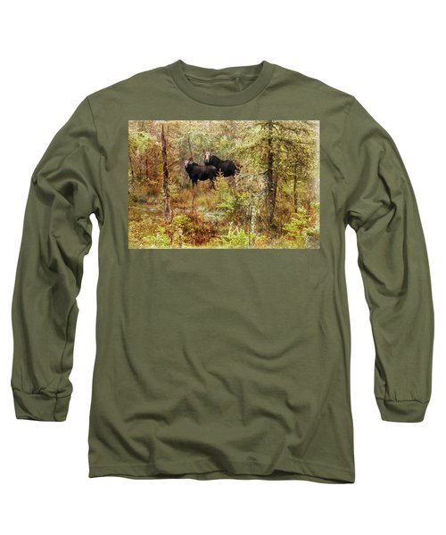 A Mother And Calf Moose. Long Sleeve T-Shirt