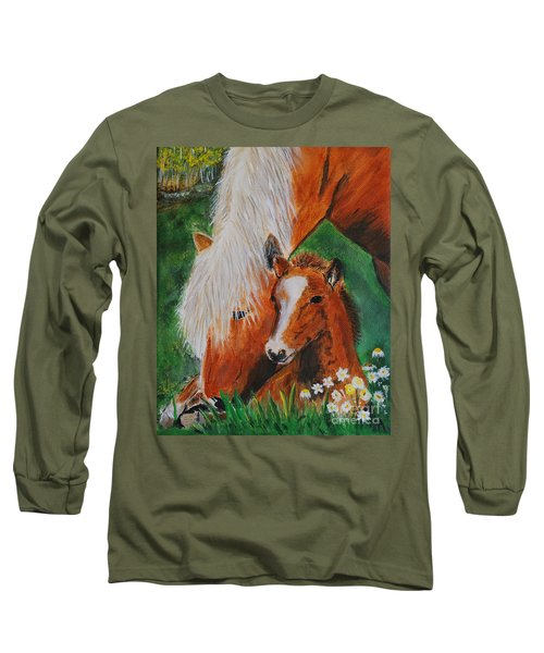 Long Sleeve T-Shirt featuring the painting A Mothers Love by Leslie Allen