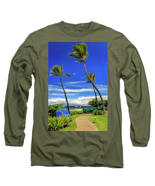 Long Sleeve T-Shirt featuring the photograph A Path In Kaanapali by James Eddy