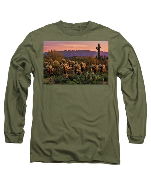 Long Sleeve T-Shirt featuring the photograph A Pink Kissed Sunset  by Saija Lehtonen