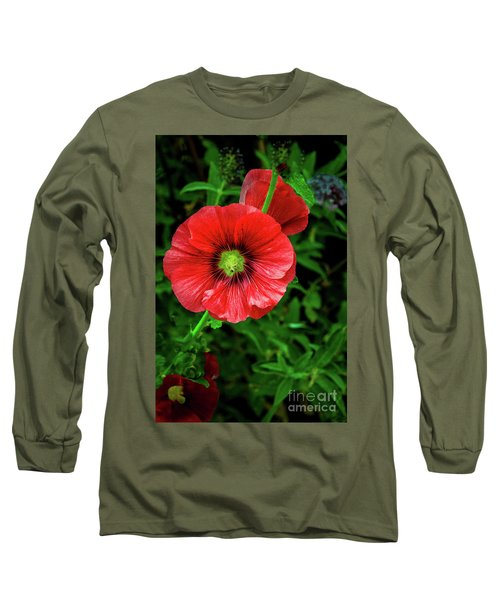 A Red Hollyhock Long Sleeve T-Shirt