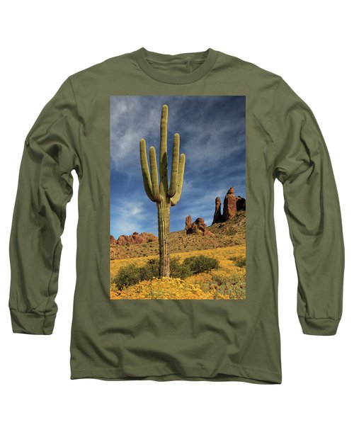 Long Sleeve T-Shirt featuring the photograph A Saguaro In Spring by James Eddy