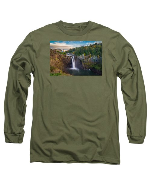 A Snoqualmie Falls  Autumn Long Sleeve T-Shirt by Ken Stanback