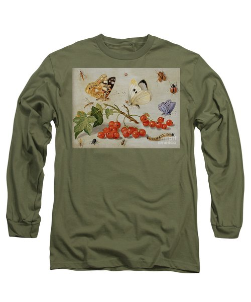 A Still Life With Sprig Of Redcurrants, Butterflies, Beetles, Caterpillar And Insects Long Sleeve T-Shirt