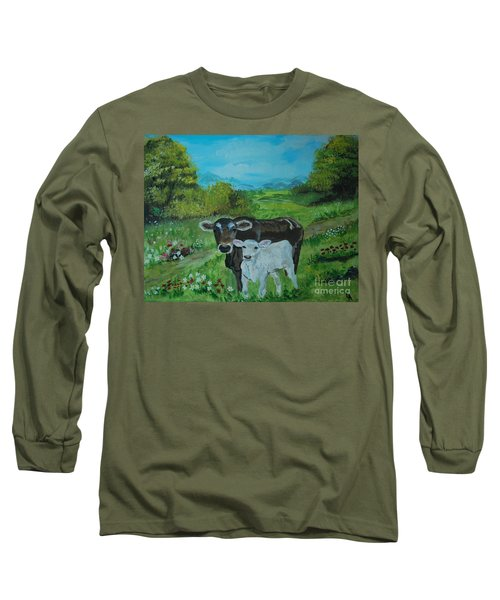 Long Sleeve T-Shirt featuring the painting A Tender Love by Leslie Allen