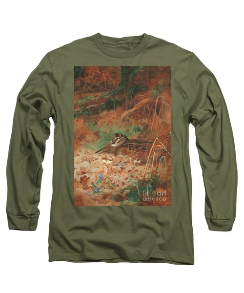 A Woodcock And Chick In Undergrowth Long Sleeve T-Shirt by Archibald Thorburn