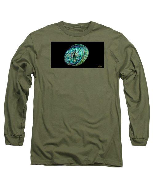 Abalone On Black Long Sleeve T-Shirt by Rikk Flohr