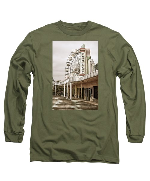 Long Sleeve T-Shirt featuring the photograph Abandoned Arcade And Ferris Wheel by Andy Crawford