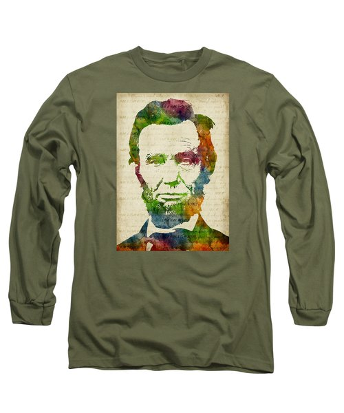 Abraham Lincoln Watercolor Long Sleeve T-Shirt by Mihaela Pater