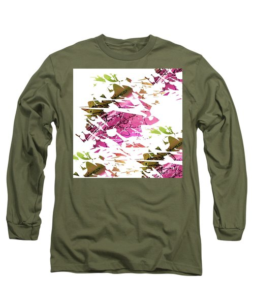 Abstract Acrylic Painting Broken Glass Purple And Green Long Sleeve T-Shirt by Saribelle Rodriguez