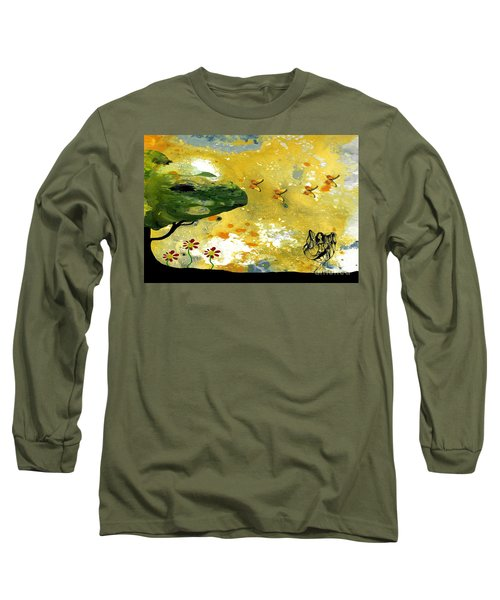 Abstract Acrylic Painting Spring Dance Long Sleeve T-Shirt by Saribelle Rodriguez