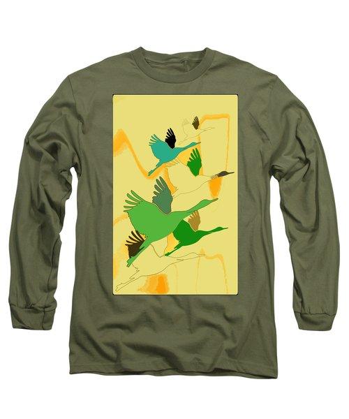 Abstract Cranes Long Sleeve T-Shirt