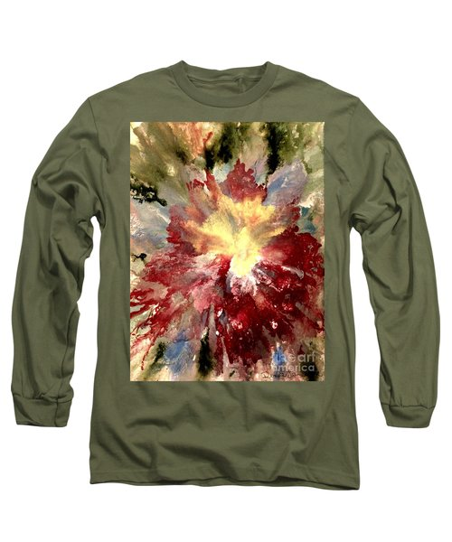 Long Sleeve T-Shirt featuring the painting Abstract Flower by Denise Tomasura
