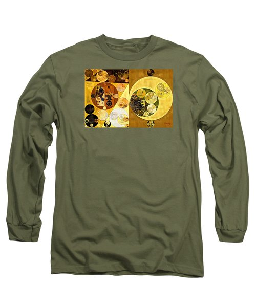 Long Sleeve T-Shirt featuring the digital art Abstract Painting - Golden Brown by Vitaliy Gladkiy