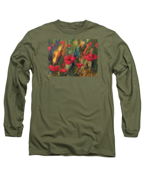 Long Sleeve T-Shirt featuring the painting Abstract Poppies by Kristine Bogdanovich