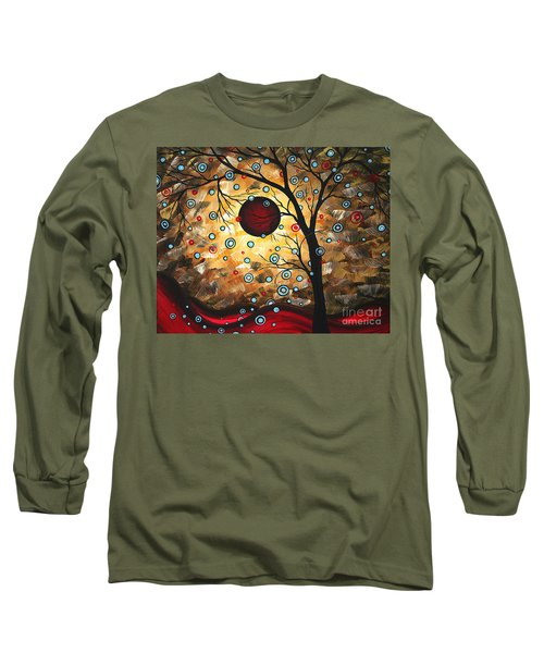 Abstract Red Moon Landscape Tree Art Terms Of Endearment By Megan Duncanson Long Sleeve T-Shirt