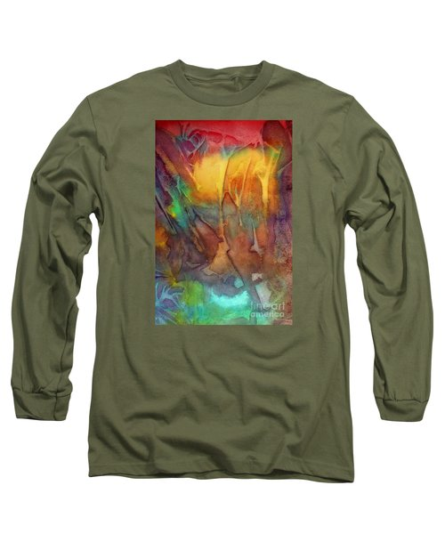 Long Sleeve T-Shirt featuring the painting Abstract Reflection by Allison Ashton