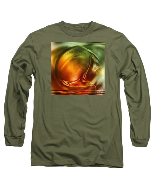 Long Sleeve T-Shirt featuring the digital art Abstract Whiskey by Johnny Hildingsson