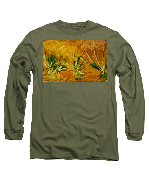 Abstract Yellow, Green Fields   Long Sleeve T-Shirt