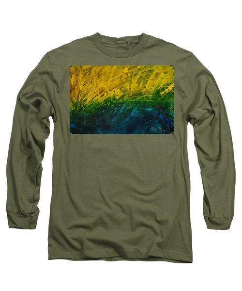 Abstract Yellow, Green With Dark Blue.   Long Sleeve T-Shirt