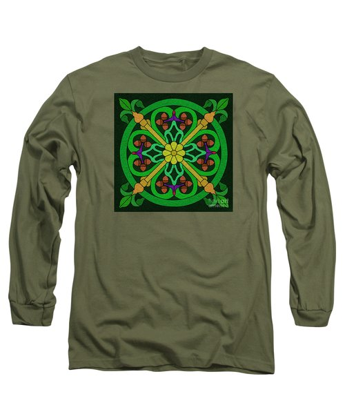 Acorn On Dark Green Long Sleeve T-Shirt