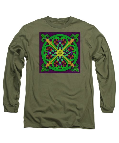 Acorn On Dark Purple 2 Long Sleeve T-Shirt by Curtis Koontz