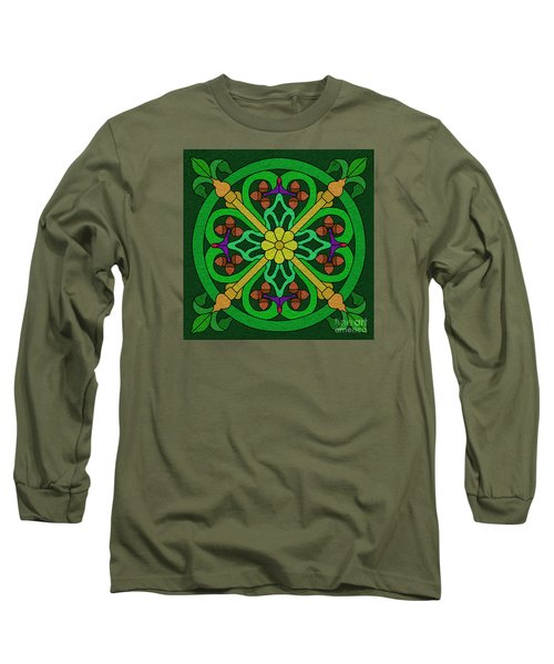 Acorns On Forest Green Long Sleeve T-Shirt by Curtis Koontz