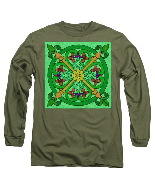 Acorns On Light Green Long Sleeve T-Shirt