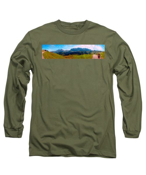 Adelboden With Hiker Long Sleeve T-Shirt by Gerhardt Isringhaus